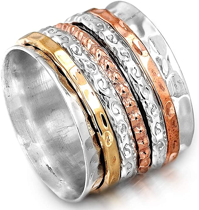Details about  /Solid 925 Sterling Silver Spinner Ring Meditation Handmade Woman Gift Ring MS274