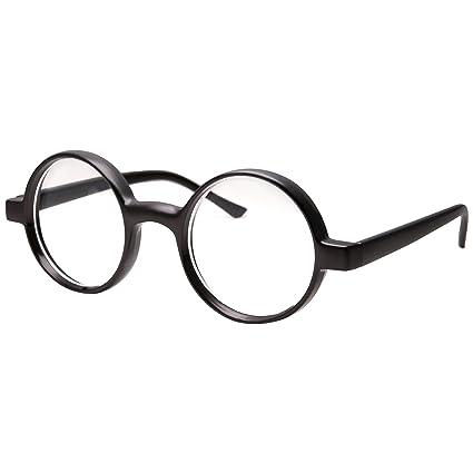 900b2ede213e Amazon.com: Kids Childrens Wizard Nerd Round Black Frame Glasses, Clear  Lens (Age 4-12): Toys & Games