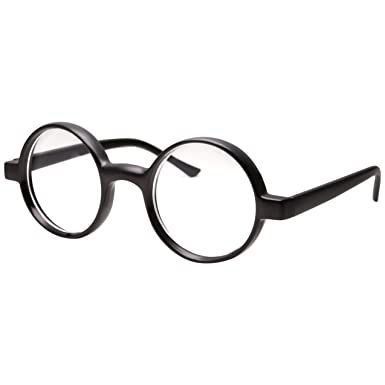 kids childrens wizard nerd round black frame glasses clear lens age 4 12