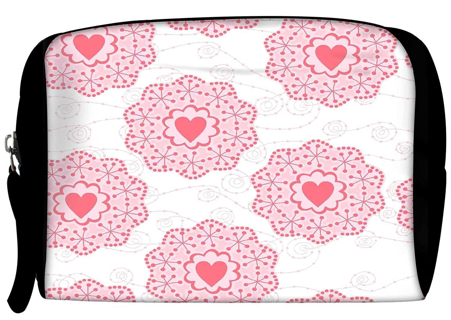 Snoogg Pink Heart White Pattern Womens Travel Buddy Toiletry Bag / Bag Organizer / Vanity Pouch