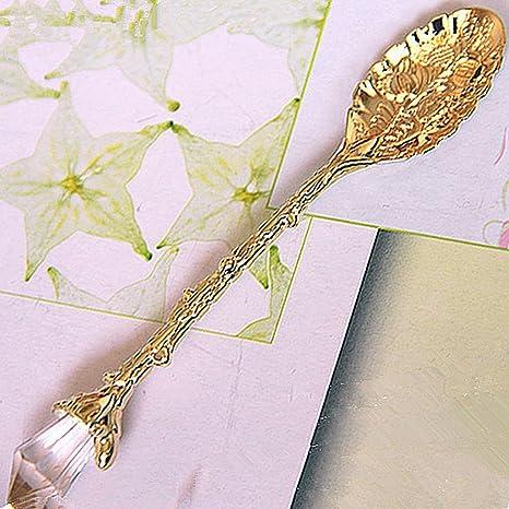 Gankmachine Cabeza de Cristal de Bronce Tallado Cuchara de café de té Cuchara de Helado Cubertería