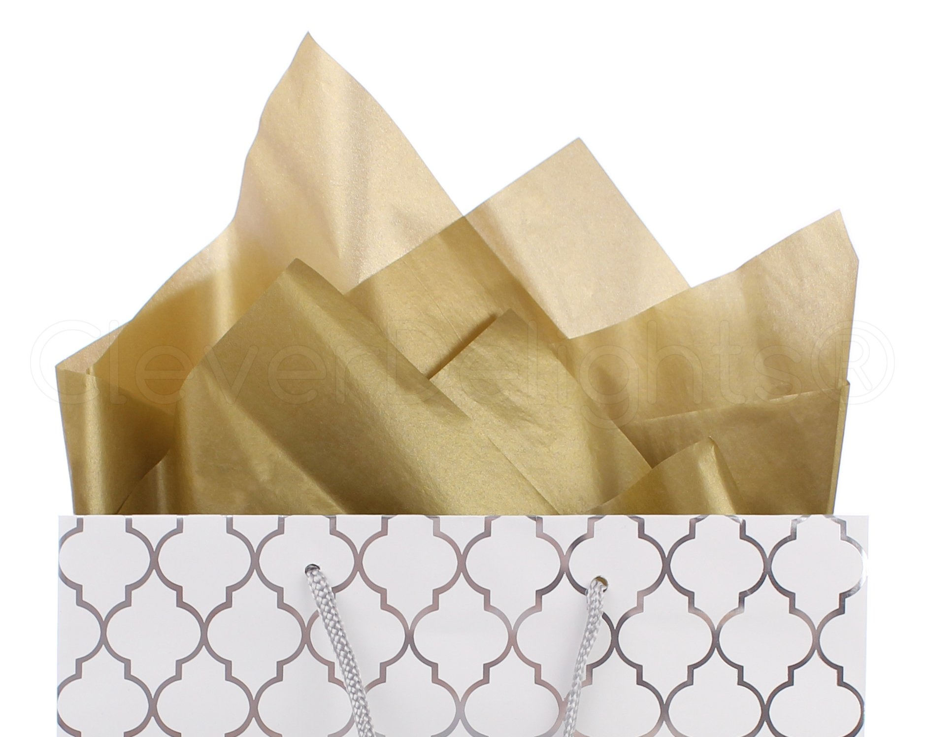 CleverDelights Premium Tissue Paper - 100 Sheets - Mixed Colors - 20'' x 30'' - Metallic Gold Metallic Silver Red Green Bright White by CleverDelights (Image #2)