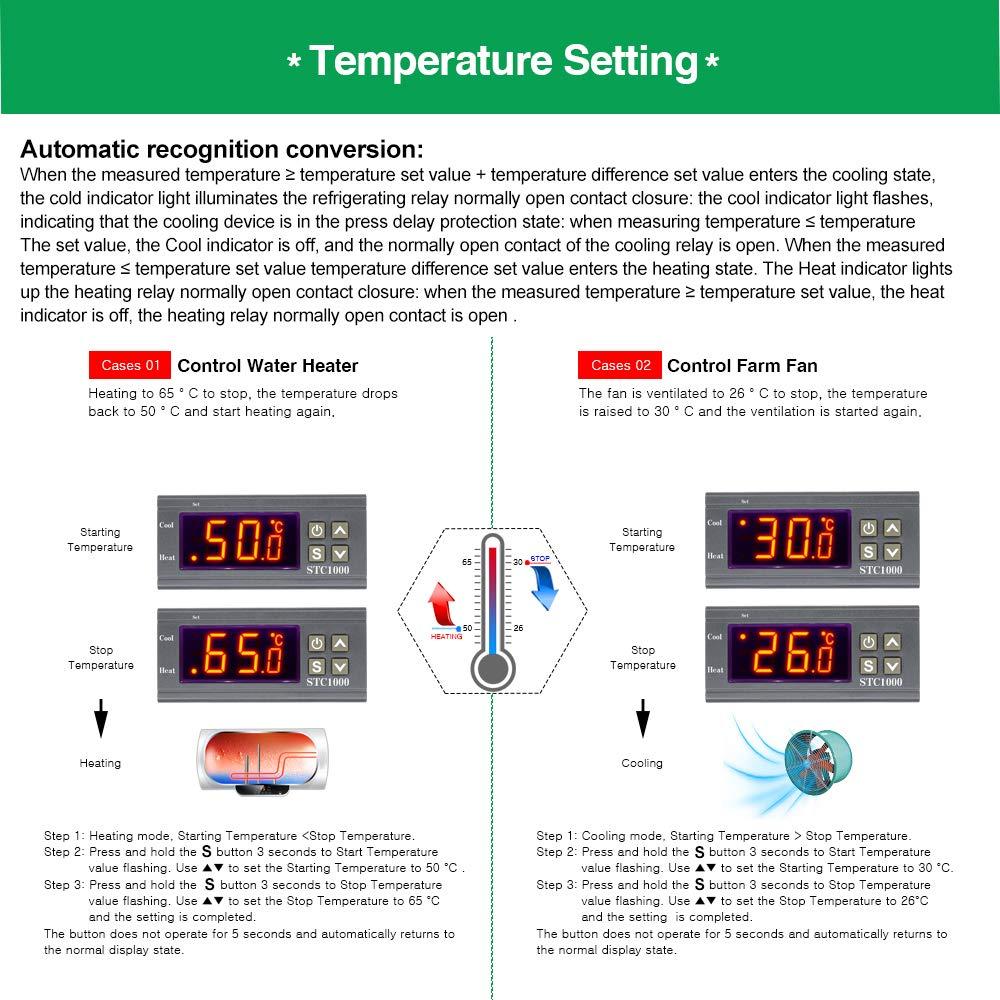 AC 110-220V Aideepen STC-1000 Digitaler Temperaturregler DC 12 V-72 V AC 110-220 V
