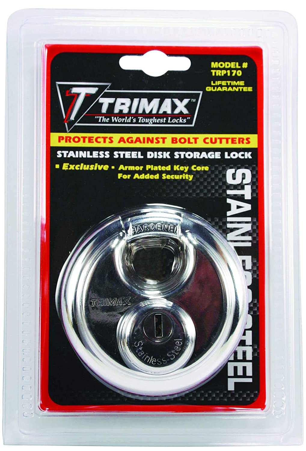 Amazon.com: Trimax TRP170 Stainless Steel 70mm Round Pad Lock - 10mm Shackle: Automotive