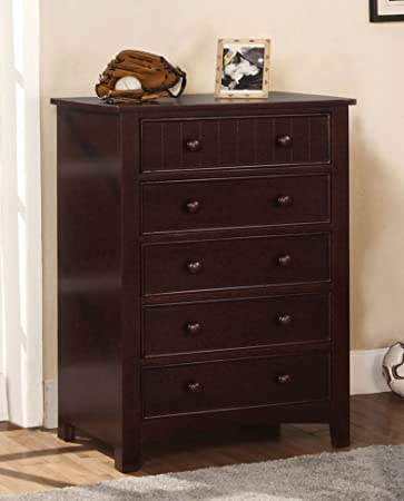 Furniture of America Oscar 5-Drawer Bedroom Chest, Dark Walnut
