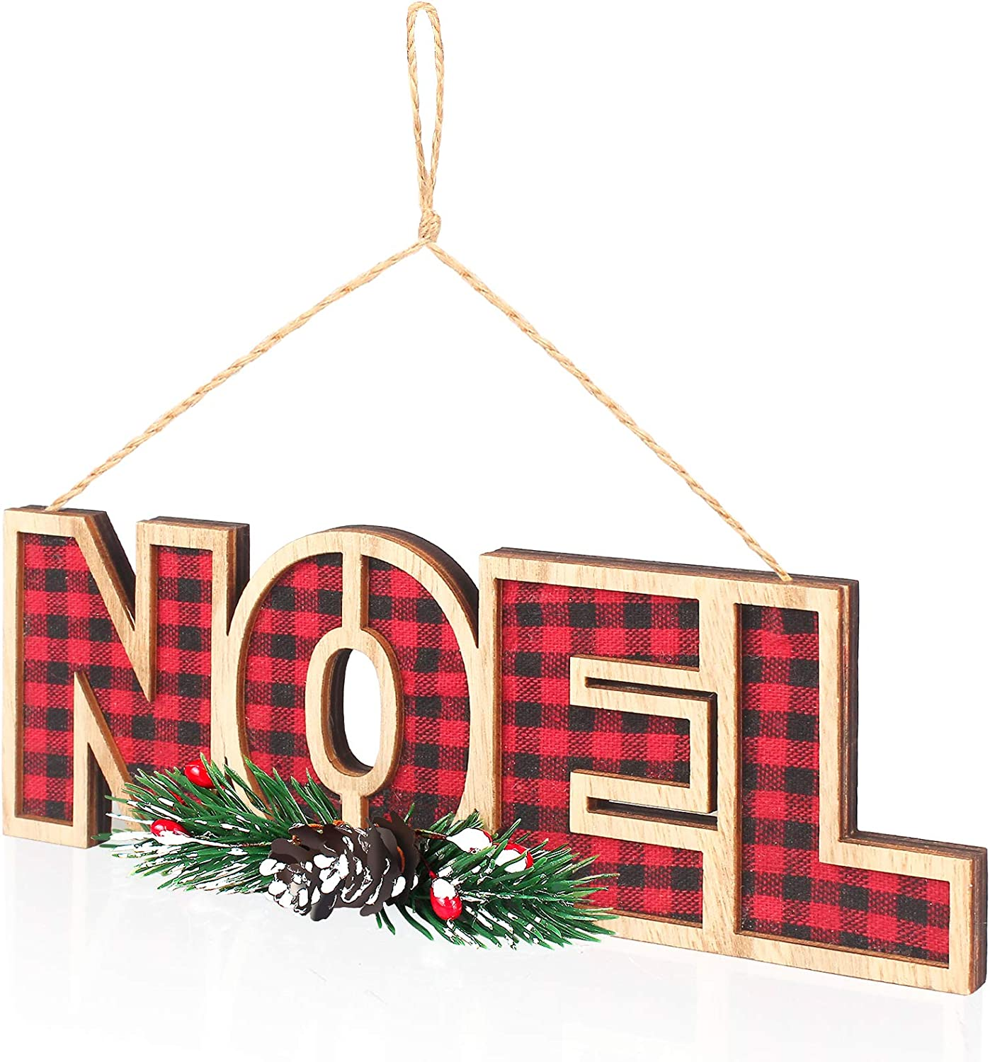 WizPower Hanging Sign, Noel Decoration Plaid Wooden Xmas Ornament Décor for Door Wall Home Kitchen Tree