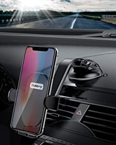 Nulaxy Phone Holder for Car, No Obstruction View Dashboard Windshield Car Phone Mount Strong Suction with Extra Gel Pad for iPhone 11 Pro Max/11/XS Max, Galaxy S10, Google Pixel 3 XL Other 4.7''- 6.5""