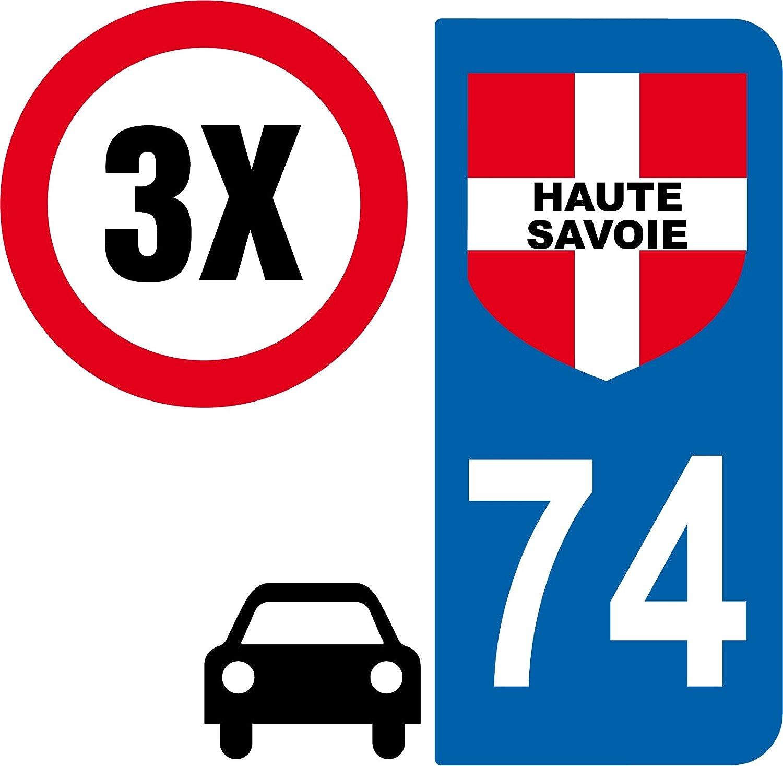3 autocollants Style plaque immatriculation auto Dé partement 74 HTE SAVOIE SAFIRMES
