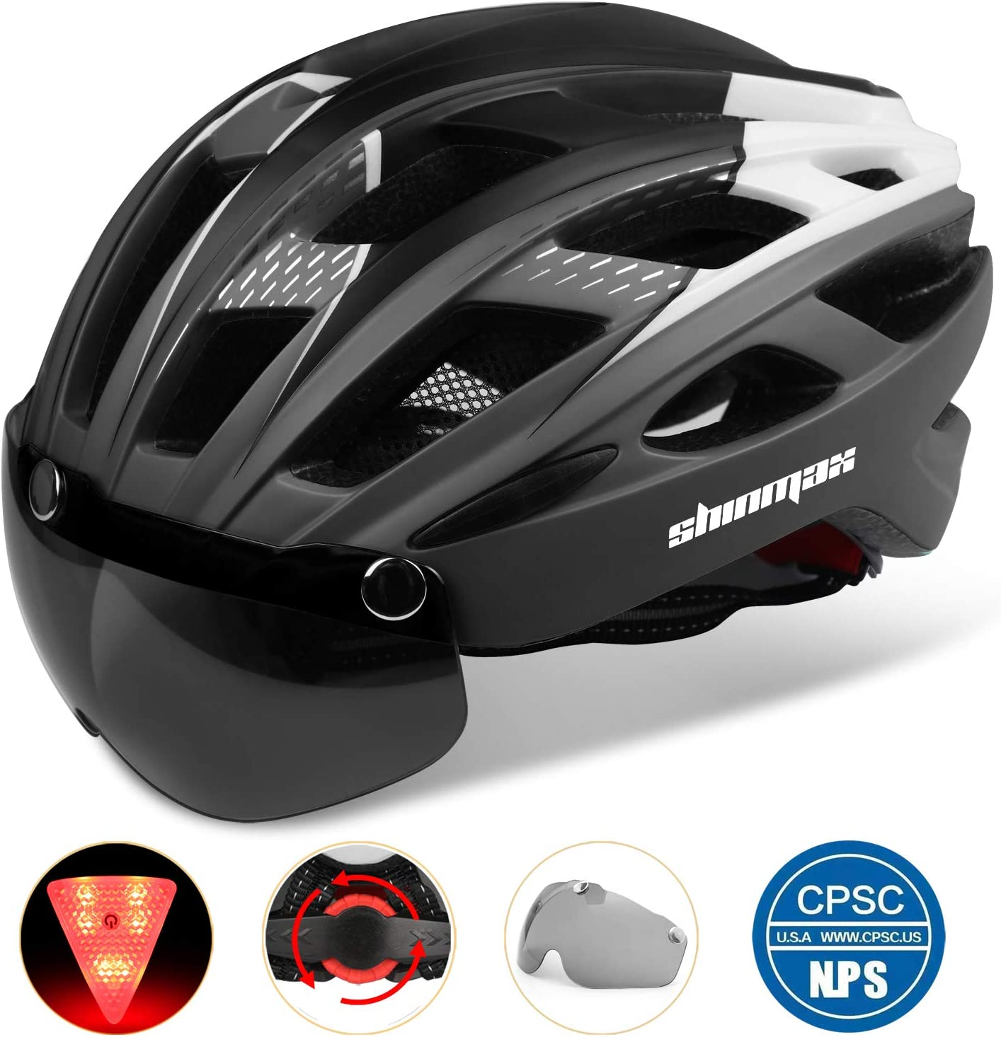Shinmax Adults Bike Helmet,Bicycle Helmet CPSC//CE Safety Standard Cycling//Climbing Helmet//MTB//BMX Adjustable Helmet with Removable Shield Visor//Safety Rear Led Light for Road Men/&Women SM-T69