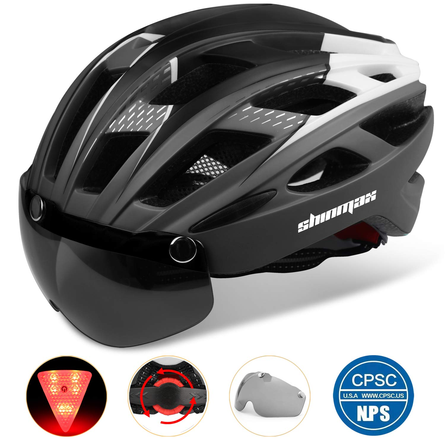 Shinmax Adults Bike Helmet,Bicycle Helmet CPSC CE Safety Standard Cycling Climbing Helmet MTB BMX Adjustable Helmet with Removable Shield Visor Safty Rear Led Light for Road Men Women