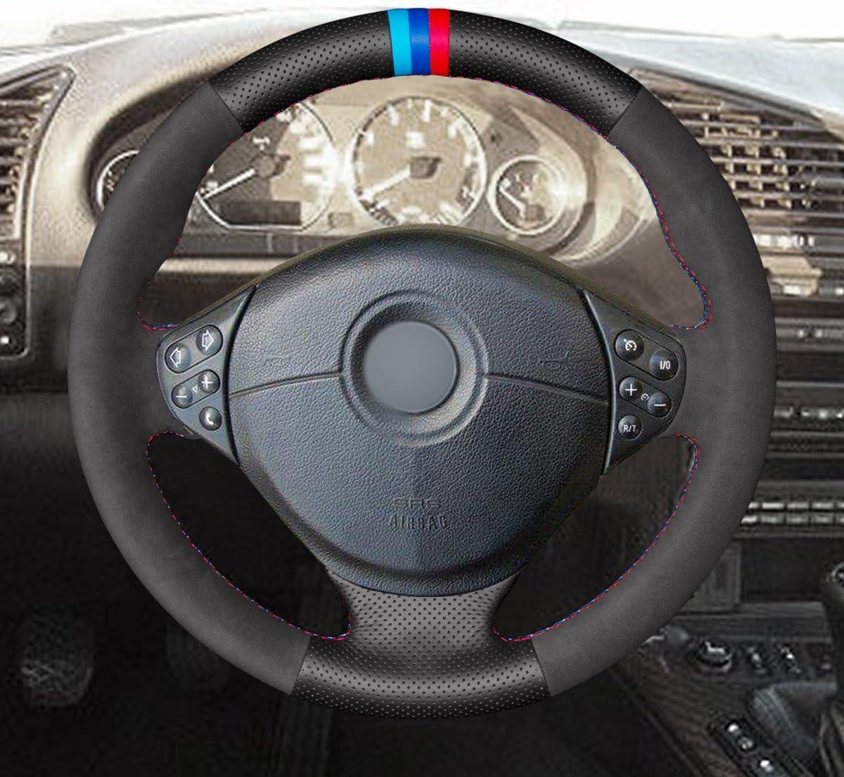 20 2005/E53/X 5/2000 DIY Individuelle Hand n/ähen Schwarz Wildleder Schwarz Echtes Leder Auto Lenkradbezug f/ür E39/5/Series 1999 2006/E36/Z3/1996 2003/E46/3/Series 1999