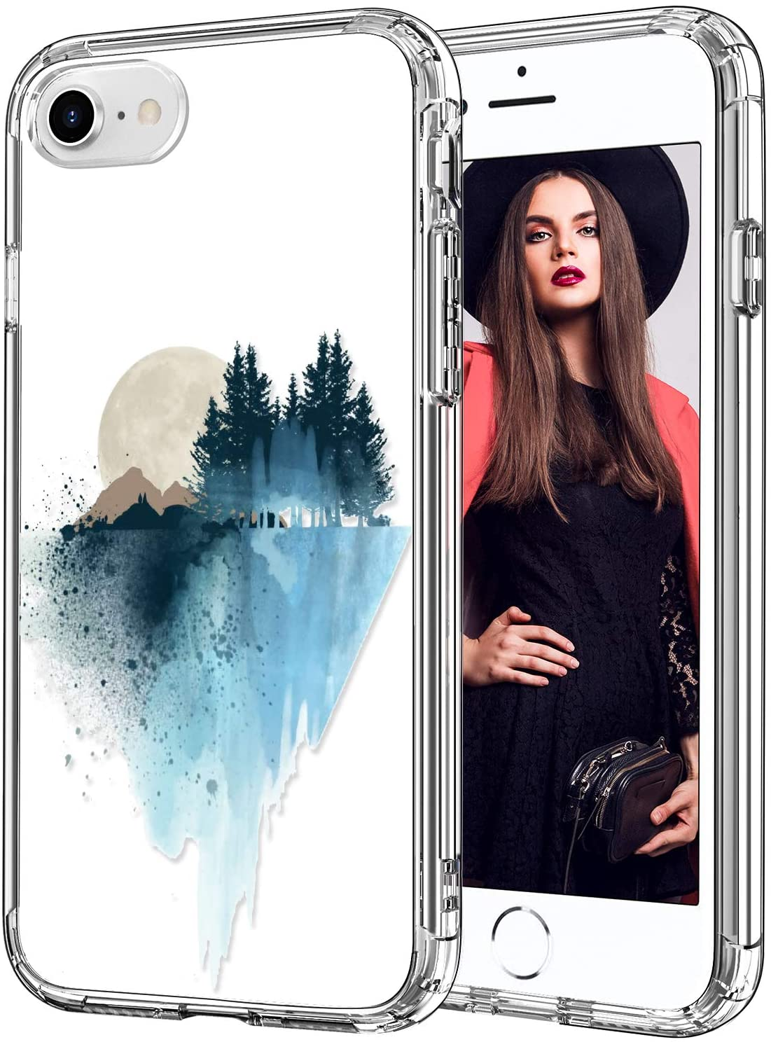 ICEDIO iPhone SE 2020 Case,iPhone 8 Case,iPhone 7 Case with Screen Protector,Clear with Fashion Designs for Girls Women,Shockproof Protective Phone Case for iPhone 7/8/SE 2020 Blue Paintings