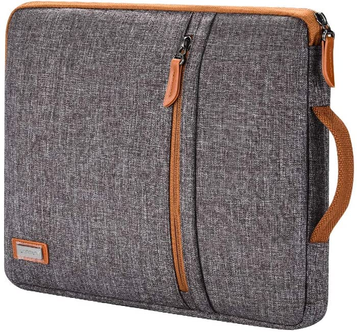 "LONMEN 14 inch Laptop Sleeve Case Water-Resistant Handle Bag for Most 14"" Computer/Surface Book/Lenovo Flex 4/Yoga 530/Thinkpad L480 E485/HP Pavilion X360/Dell New Latitude 5490 7490 2018,Brown"