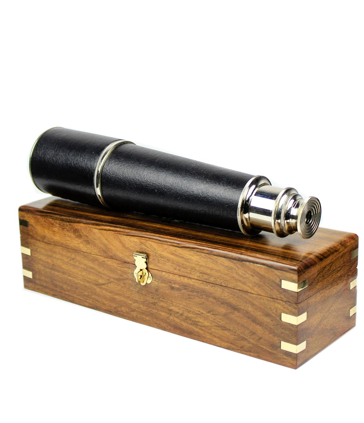 Nagina International Nautical Pirate's Maritime 32'' Large Spyglass with Beautiful Brass Decorative Anchor Emblem Rosewood Hand Crafted Wooden Box | Antique Ship's Replicas (Chromed with Box)