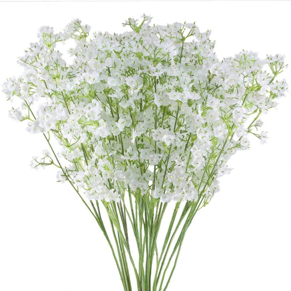 Ahsado - 20 flores artificiales para aliento de bebés, 40,6 cm, diseño de Gypsophila, flores de seda falsas para bodas, fiestas, hogar, jardín, decoración de mesa
