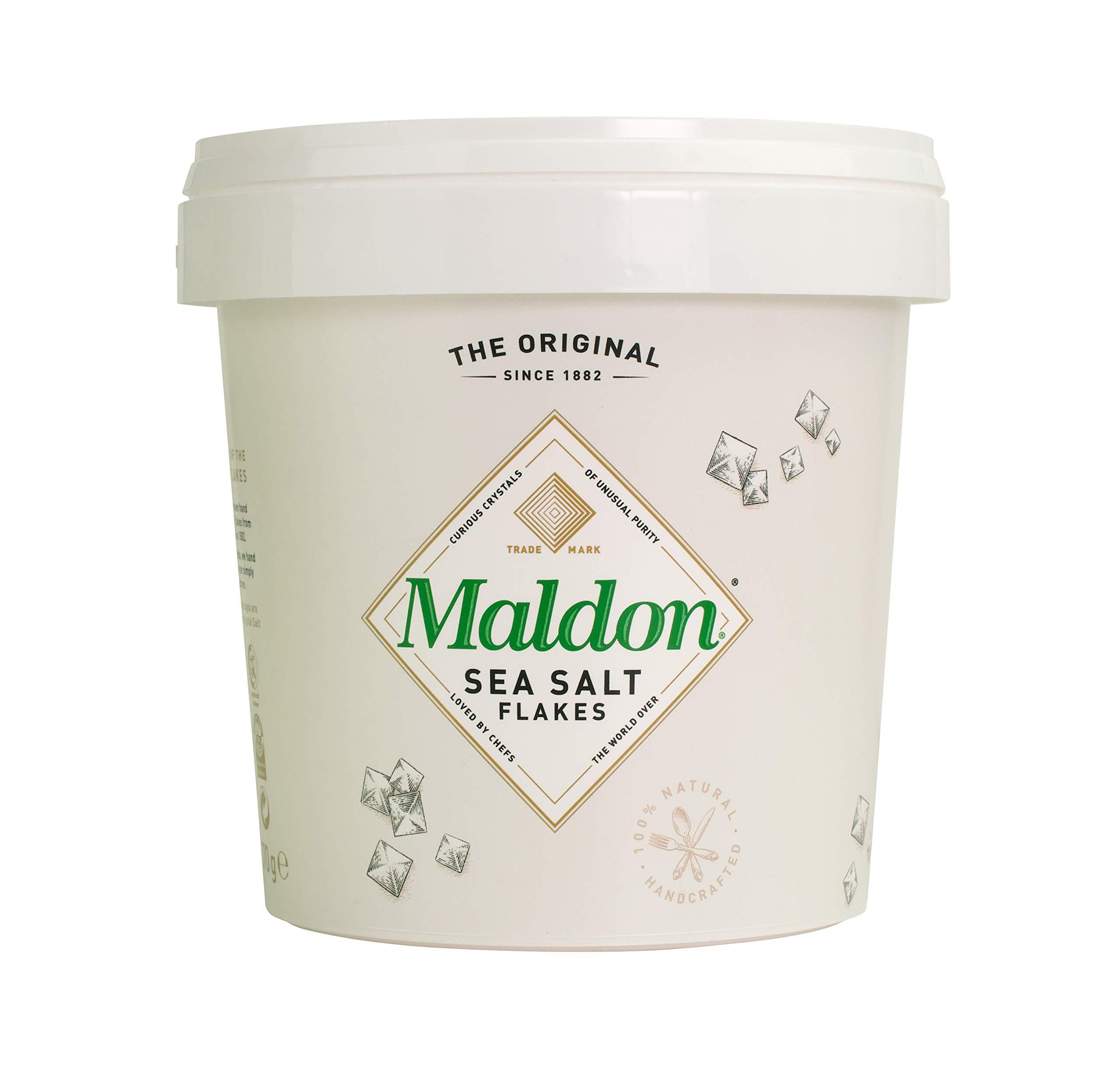 Maldon Salt, Sea Salt Flakes, 20 oz (570 g), Resealable Tub, Kosher, Natural, Handcrafted, Gourmet, Pyramid Crystals