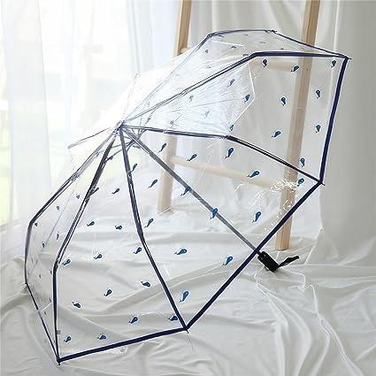 Tres Paraguas Plegables Hombres y Mujeres sombrillas Impermeable y Paraguas Transparente a Prueba de Viento (