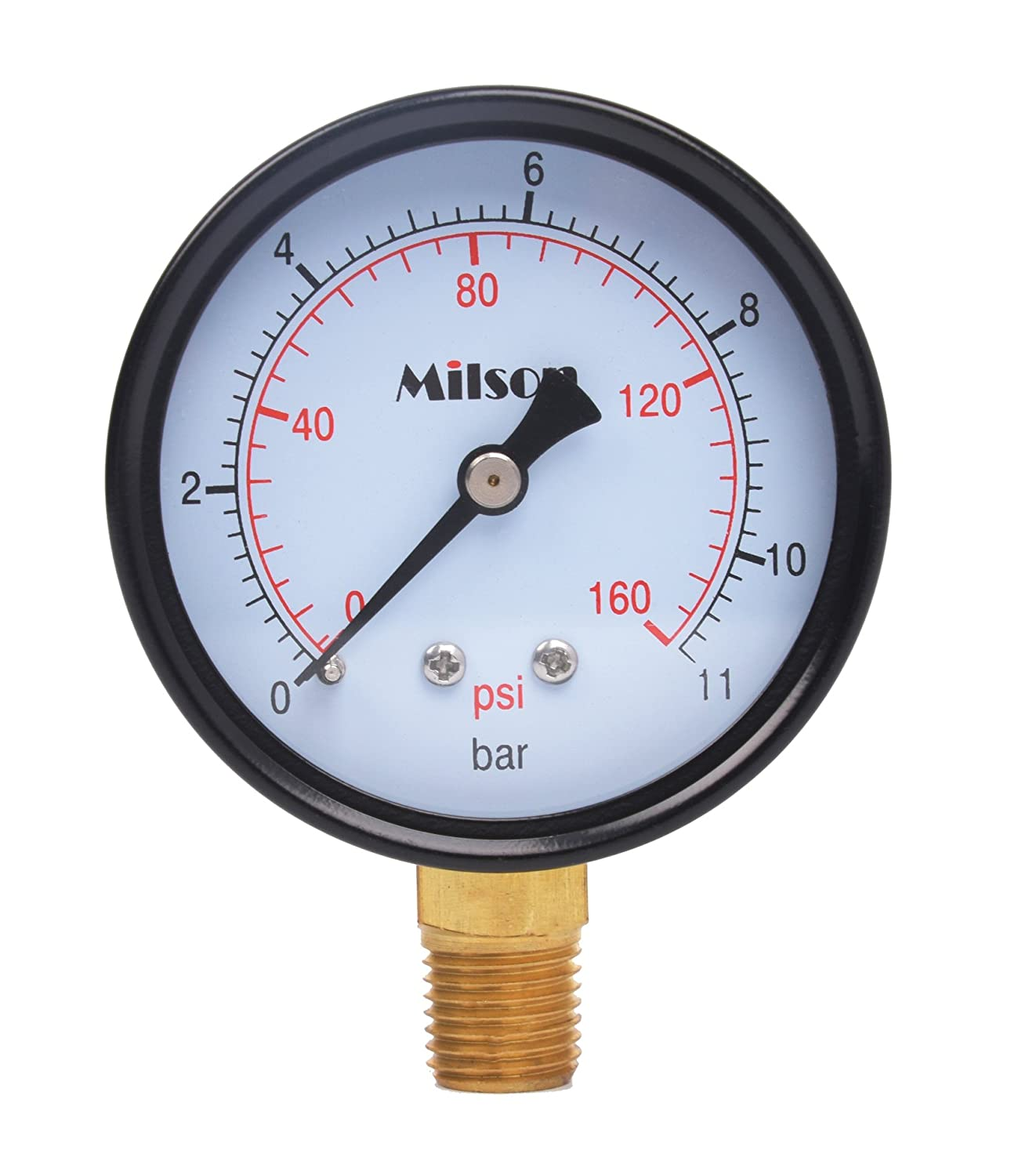 Milson Pressure Gauge 2.5 Black Steel Case Bottom Mount 1 4NPT 0 160 Psi Bar Accuracy 2.0 Brass Internal Multiple Function