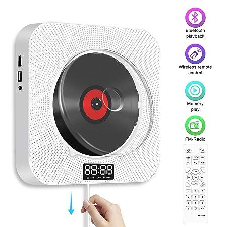 CD Player Bluetooth,Soulcker Tragbaren Wand Montierbaren CD/DVD-Player für Kinder Studenten HiFi-Lautsprecher FM Radio Eingeb
