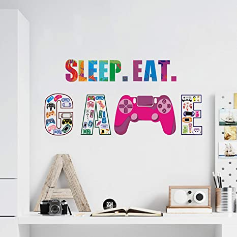 Cute Quotes Murals for Kids Playroom Eutecado Eat Sleep Game Wall Decals Game Controller Wall Poster for Boys Bedroom Removable Vinyl Wall Stickers