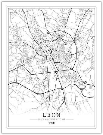 Impresión De Lienzo,España Leon Mapa De La Ciudad Moderna De Arte En Blanco Y Negro Pintura Mural Poster Minimalista Simple Modular Viviendo Cafe Habitación Decoración Personalizada Vertical,40×: Amazon.es: Hogar