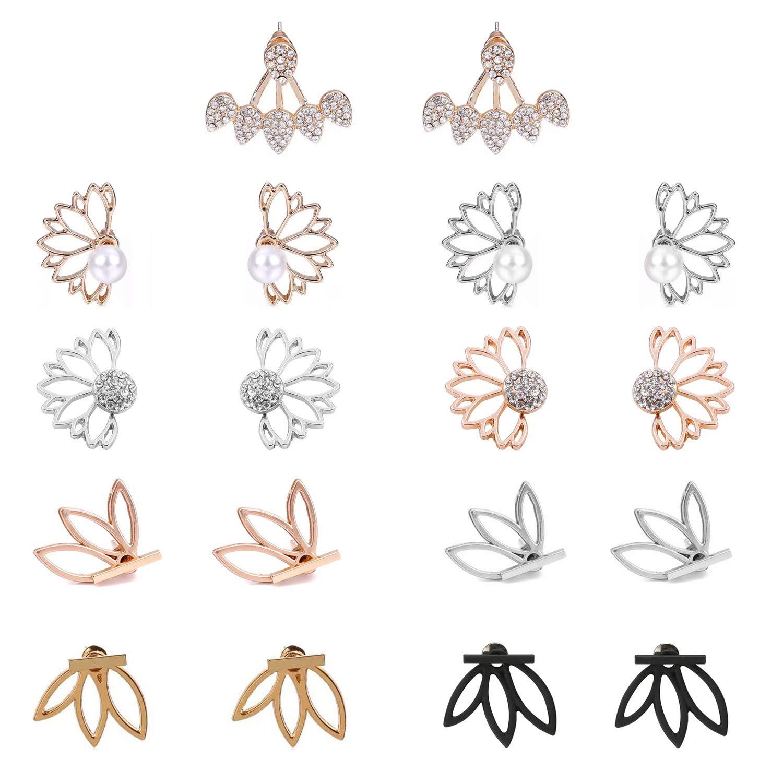 9 Pairs Lotus Flower Studs Ear Jacket Earrings Stud Water Drop Bar Chic Stud Earring Set for Women Girls
