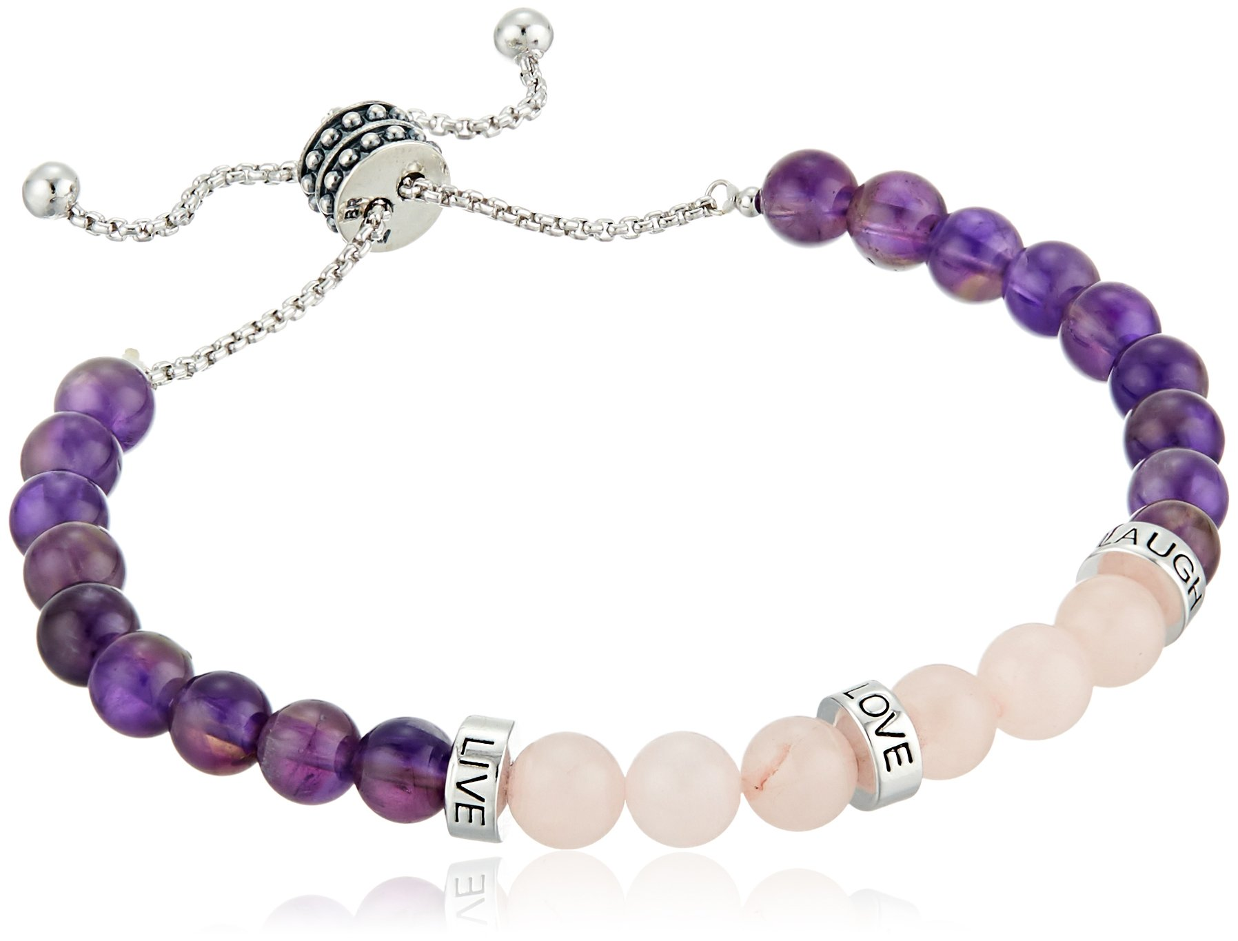 Fine Silver Plated Bronze Genuine Amethyst and Rose Quartz''Live, Love, Laugh'' Beaded Bolo Adjustable Bracelet, 9'' by Amazon Collection (Image #1)