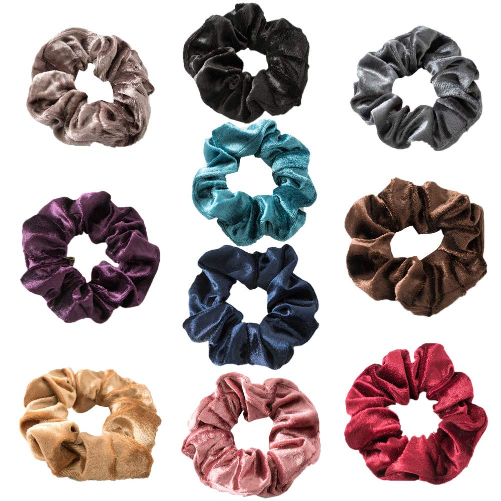 Hair Srunchies, 10 Pcs Velvet Elastic Hair Bands for Girls Women, Soft Elegant Hair Bow Ponytail Holder, Colorful Hair Scrunchy Bobbles Soft Hair Bands Ties Headband Vidillo