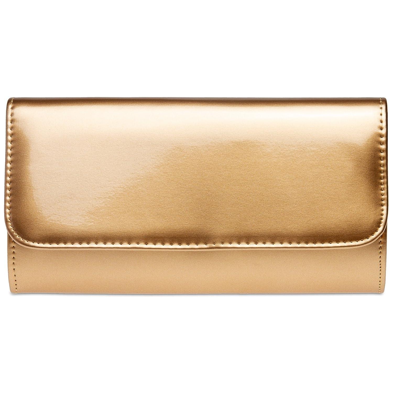 CASPAR TA431 elegante Damen Metallic Lack Clutch Tasche Abendtasche mit langer Kette