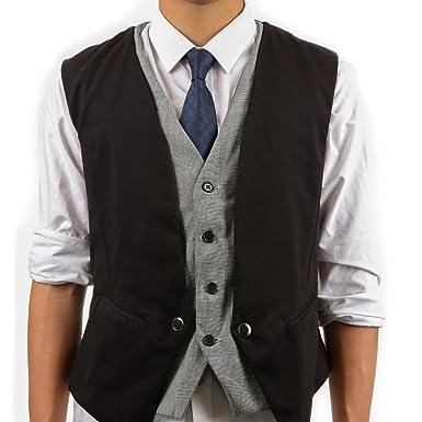 Xhorizon Fl1 Mens Formal Fashion Layered Vest Waistcoat Dress Vest