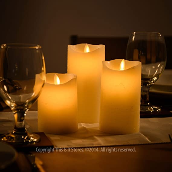 3 LED Flickering Wax Candles Flame-less Mood Lights w/ Remote Control Amazon.co.uk Kitchen u0026 Home & 3 LED Flickering Wax Candles Flame-less Mood Lights w/ Remote ...