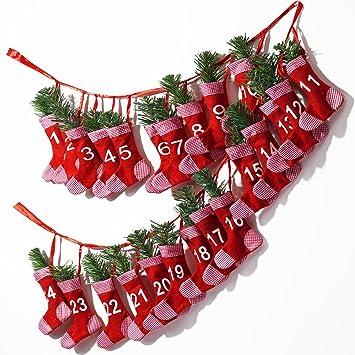 Adventskalender Söckchen Zum Befüllen ✓ Polyester ✓ Befüllbar U0026  Wiederverwendbar ✓ Girlandenadventskalender Weihnachtsdeko Socken Strümpfe  Stiefel