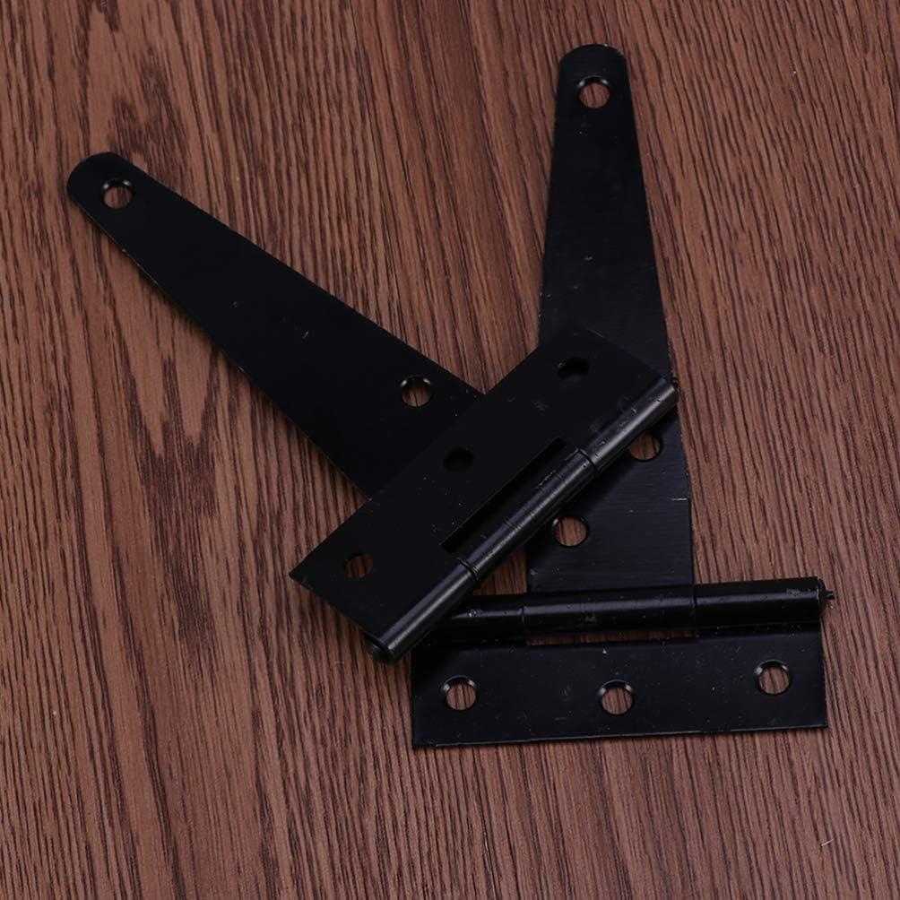 Negro Cabilock 24Pcs 4 Pulgadas T Bisagra Correa de La Puerta Bisagra de Servicio Pesado Granero Puertas Bisagras Herrajes Forjados Negros Bisagras de Hierro a Prueba de Herrumbre