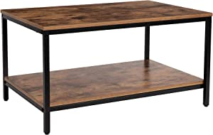 KOZYSPHERE Coffee Table with Metal Frame,2-Tier Tea Table with Storage Shelf,Cocktail Table TV Stand Side End Table, Accent Furniture for Home Office Living Room