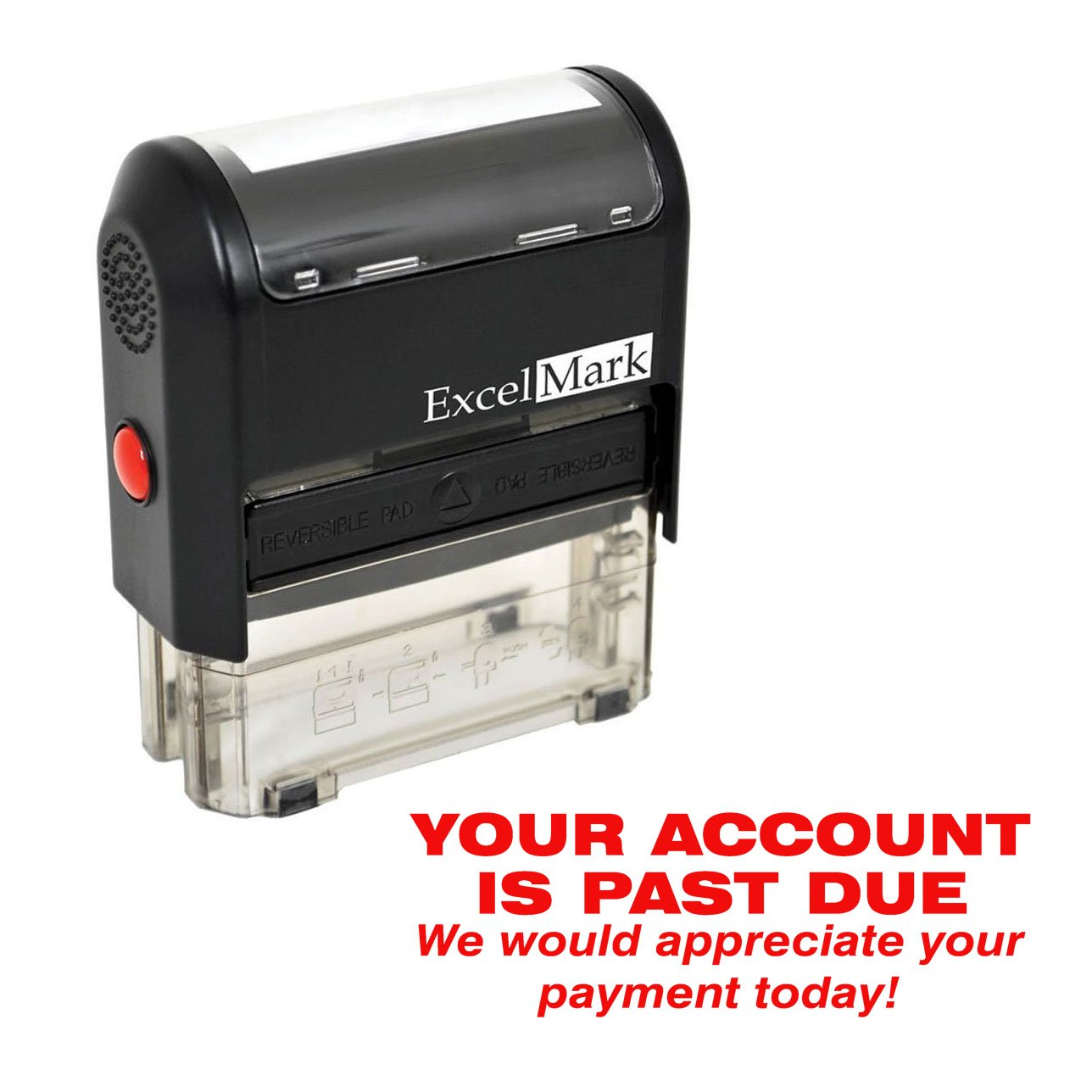 Self Inking Bill Collection Stamp in Red Ink YOUR ACCOUNT IS PAST DUE