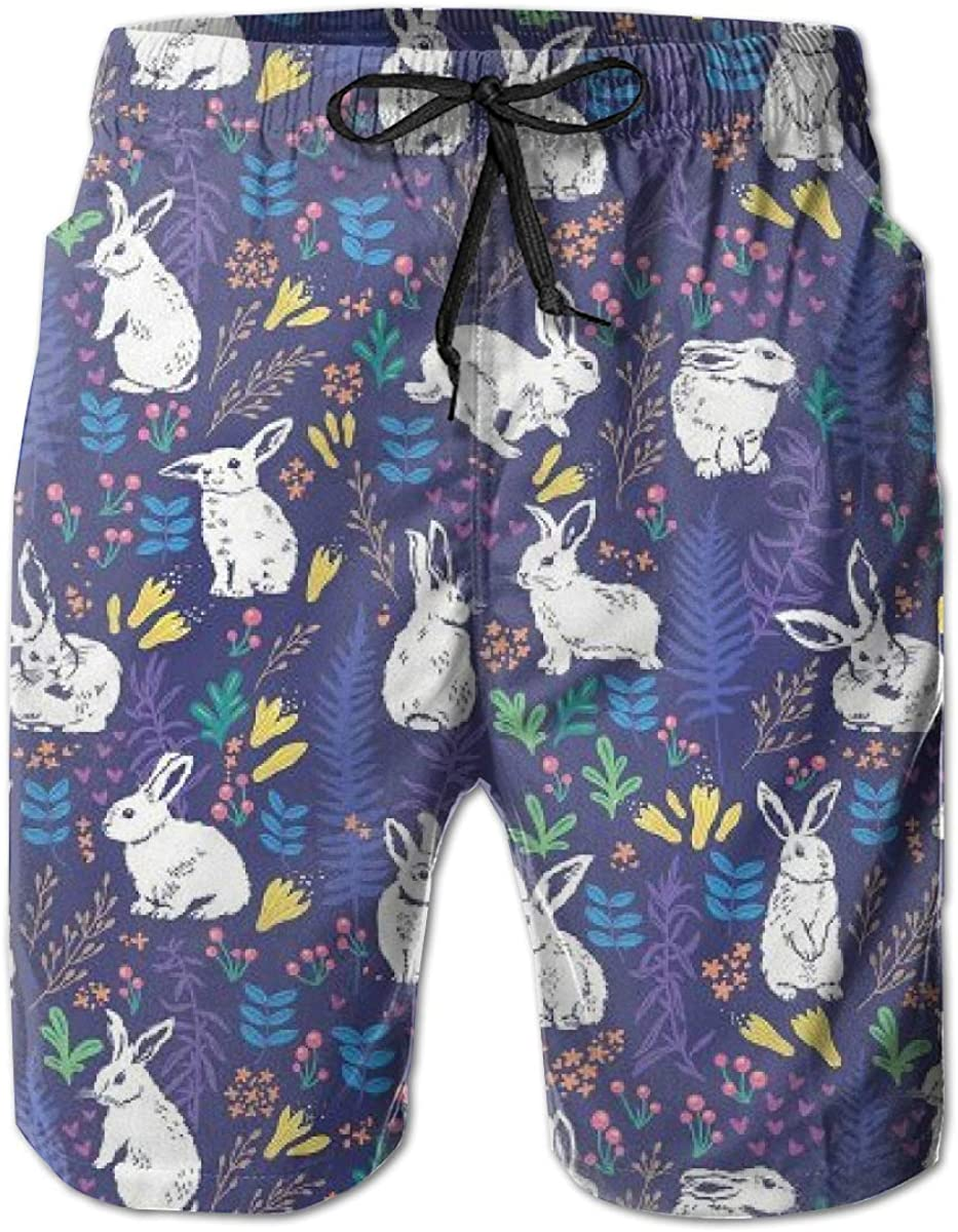 Mens Swim Trunks Cute Rabbit Purple Quick Dry Beach Board Shorts with Mesh Lining