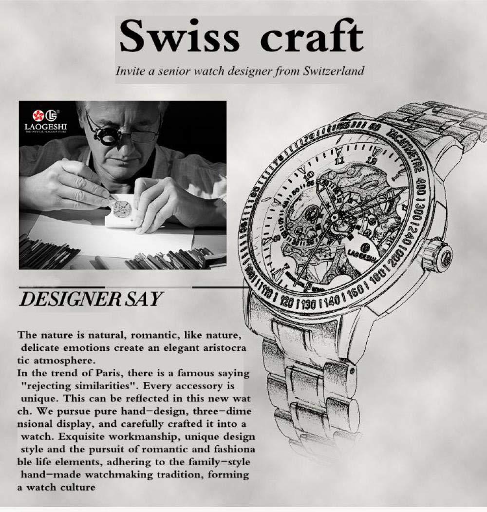 Armbandsklockor, ihåliga mekaniska klockor affärer vardaglig vattentät automatisk mekanisk klocka All Black and Black
