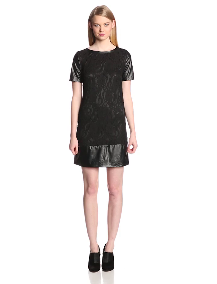 laundry BY SHELLI SEGAL Women's Stretch Lace and Faux Leather Dress, Black, 12
