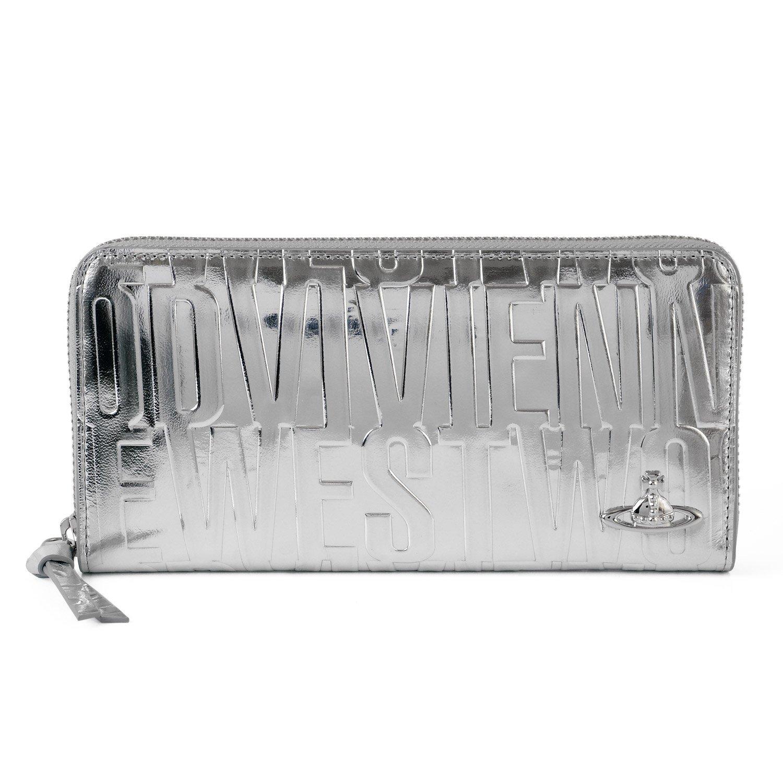 [名入れ可] (ヴィヴィアンウエストウッド) Vivienne Westwood ブライダルボックス ラウンドファスナー 長財布 レザー ロング ウォレット パース B07BDDKRZ1 名入れなし|シルバー シルバー 名入れなし