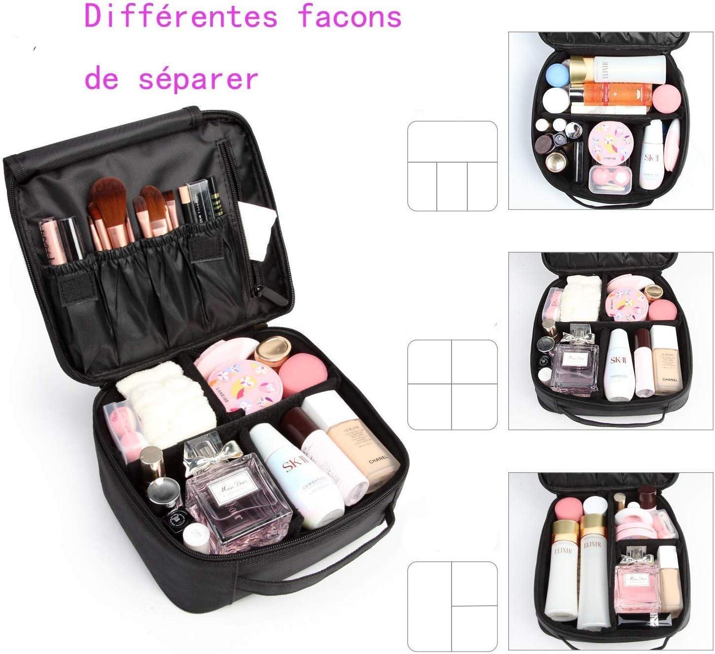 Neceseres de Maquillaje, Pulchram Bolsa de maquillaje para viaje impermeable Organizador de maquillaje con divisiones extraíbles Bolsas de aseo de cosmética Bolsas para mujer &Hombre (Negro 1): Amazon.es: Belleza