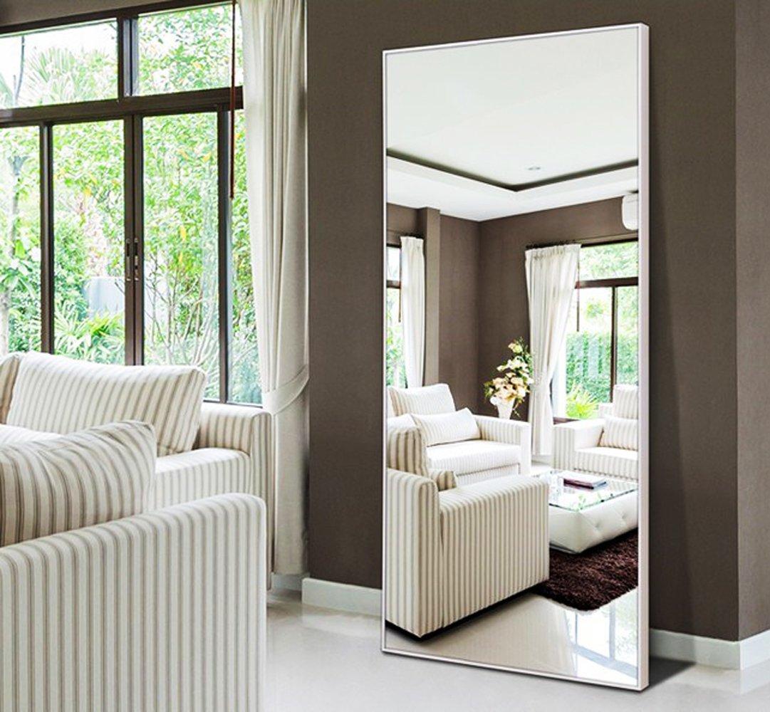 Hans&Alice Rectangle Bedroom Floor Mirror,Free Standing Dressing Mirror, 65''x22'' (White)