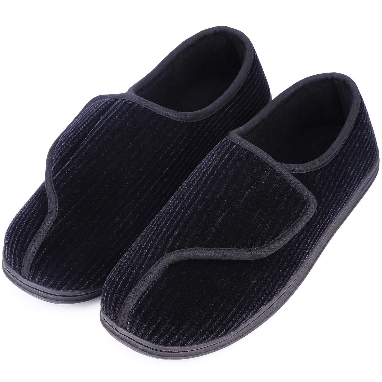 LongBay Men's Memory Foam Diabetic Slippers Comfy Warm Plush Fleece Arthritis Edema Swollen House Shoes (10 D(M) US, Black)