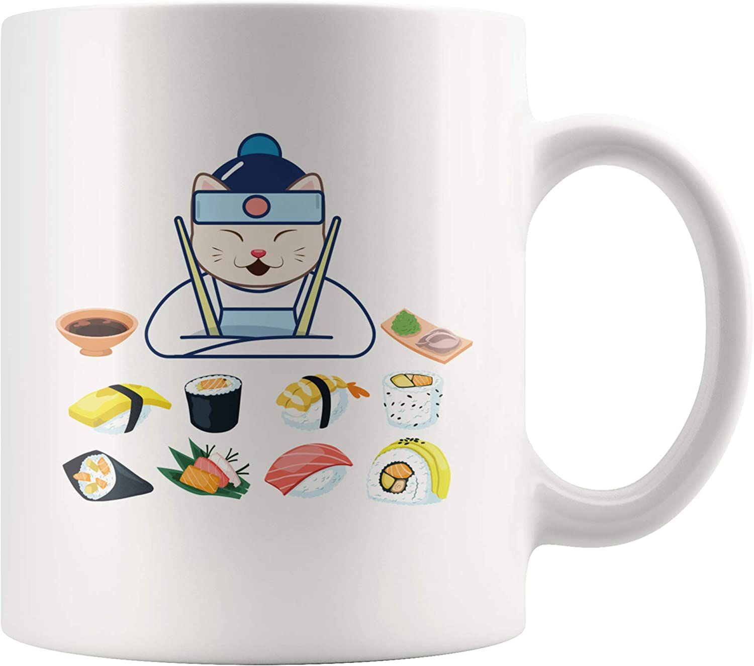 Sushi Cat Chef Japanese Cuisine Funny Coffee Mug Japan Food Art Lover Cook's Great Present 11 Ounce Ceramic Tea Cup White