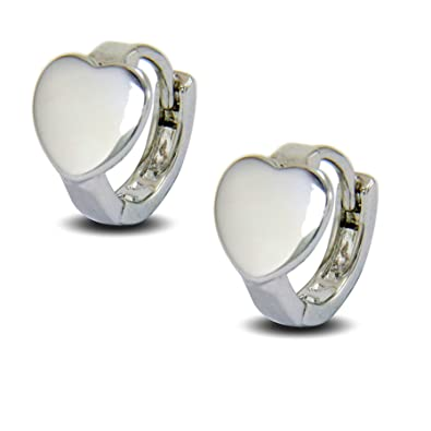 Blue Diamond Club - Small 9ct White Gold Plated Heart Stud Earrings Womens Girls VLiDLhnf