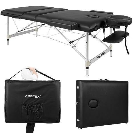 Massageliege mobil klappbar, 3 Zonen Deluxe Therapie Tatoo Salon Reiki Healingbehandlungsliege mit höhenverstellbare Aluminiu