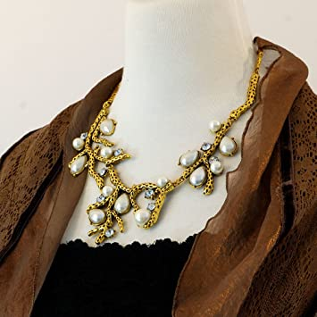 Fashion Pearls and Rhinestones Gold Statement Necklace