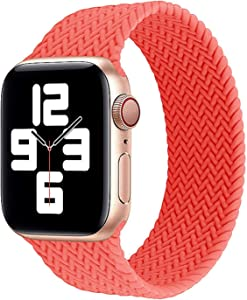 PANRONG Braided Solo Loop Strap for Apple Watch Band 44mm 40mm 38mm 42mm Silicone Elastic Bracelet iWatch Apple Watch Series 6 SE 5 4 3 (Band Color : Pink Punch, Size : M(38mm or 40mm))