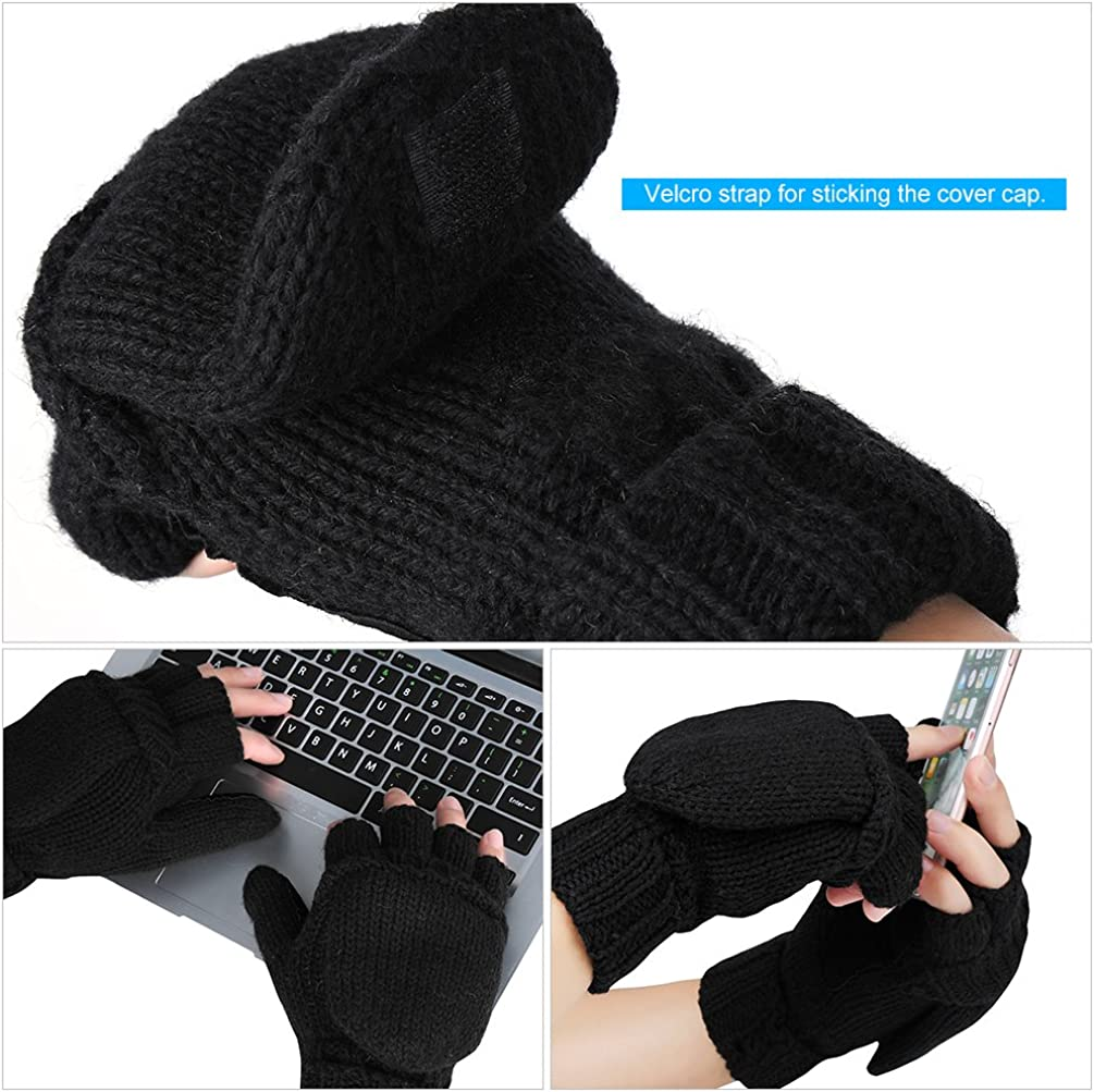 VBIGER Winter Gloves Warm Wool Mittens With Mitten Cover at  Men's Clothing store