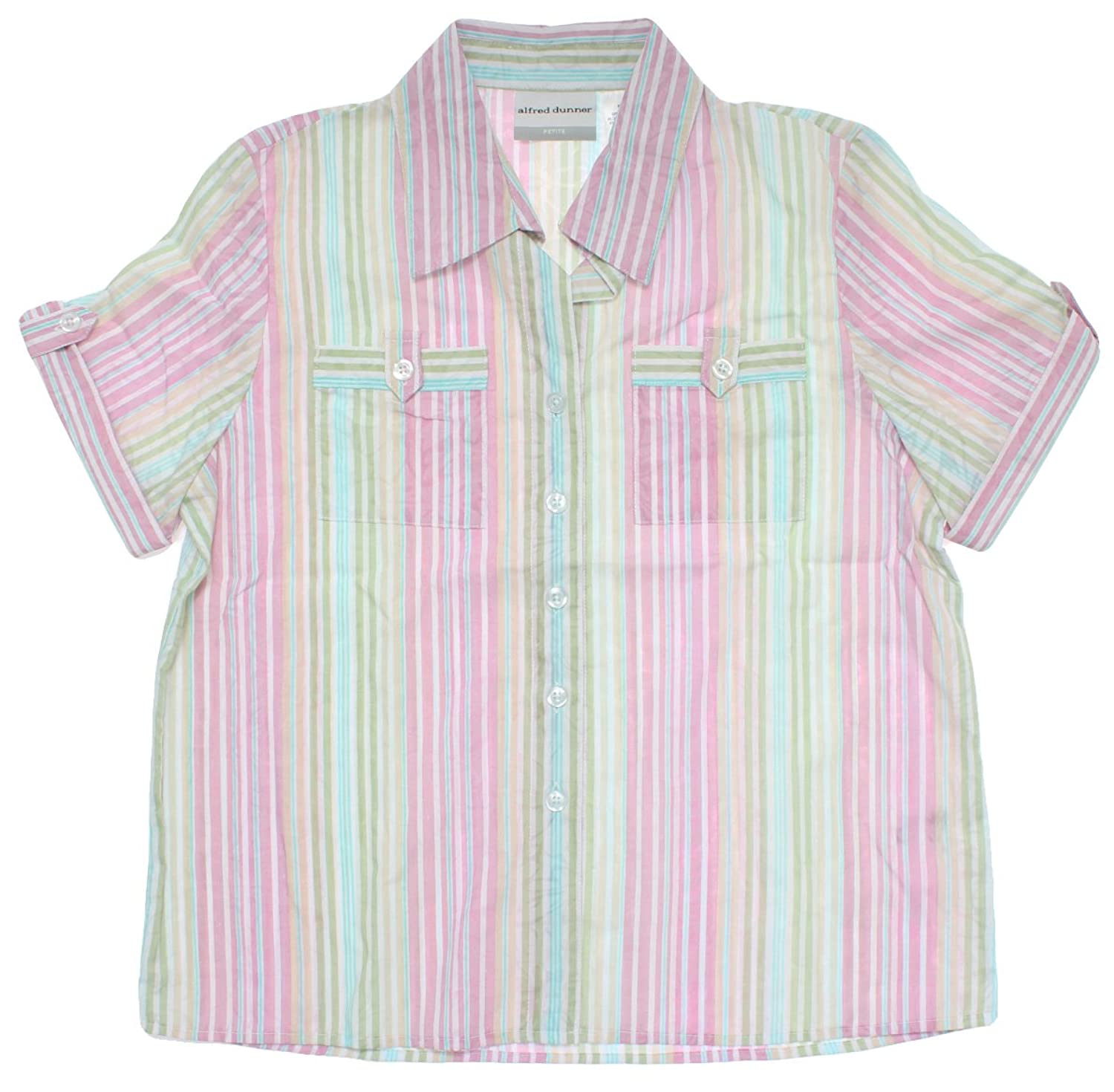 Alfred Dunner Women's Cape Cod Short Sleeve Stripe Button Down Blouse