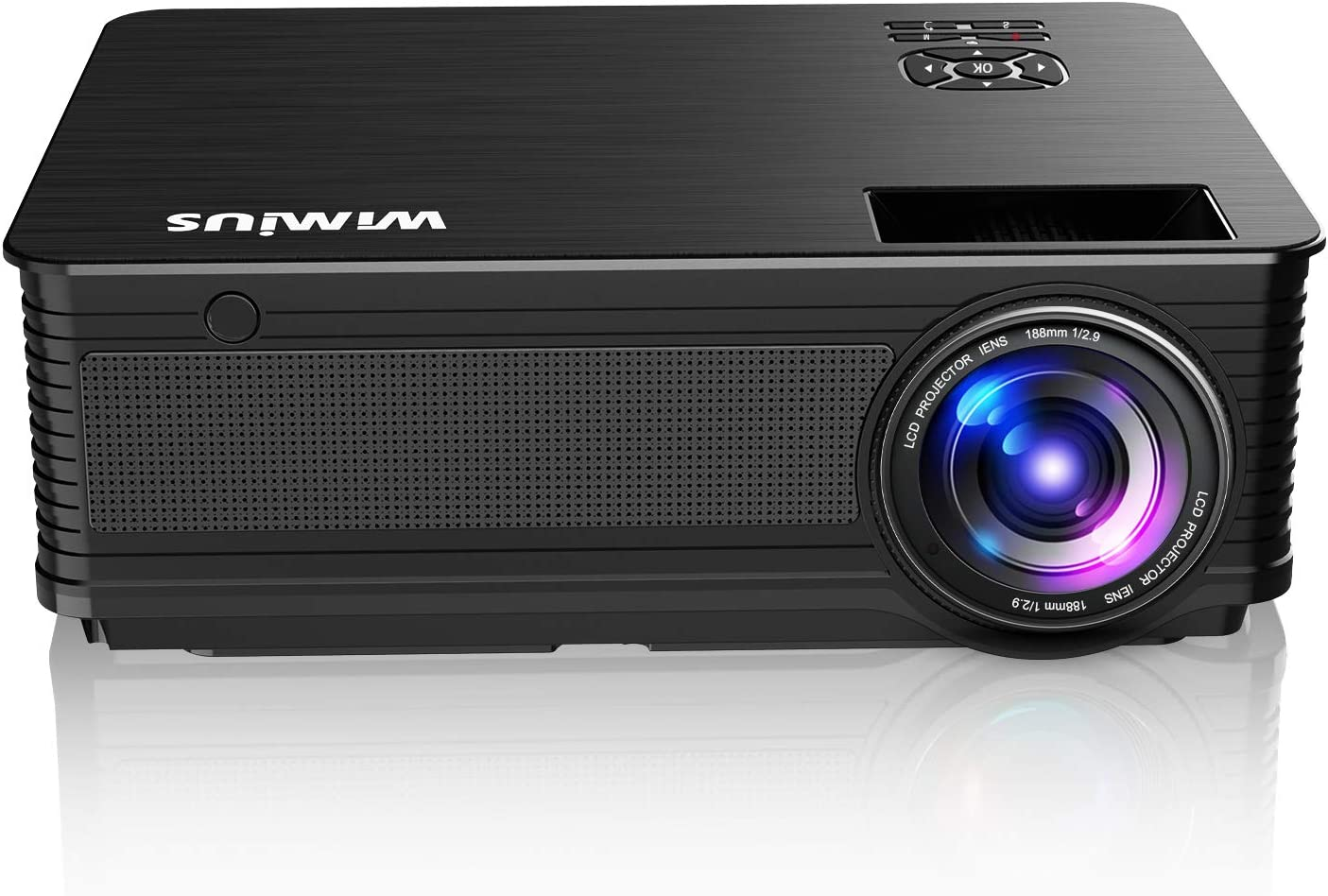 Projector, WiMiUS New P18 6500 Lumens 1080P Video Projector Support 200'' Screen Compatible with USB HDMI VGA AV for PC PS4 Fire TV Stick Chromecast Smartphones Indoor and Outdoor Projector
